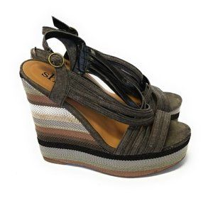 SHI By Journeys Womens Striped Platform Wedges 8